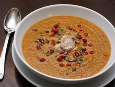 Mesa Grill's pumpkin soup--Use vegetable broth instead of chicken broth for a bold, healthy, and easy weeknight fall dinner.  | APPLE A DAY #MeatlessMonday