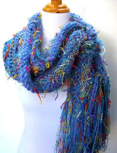 Iris Hand Knit Scarf Blue Tones with Bright Accents by Fanchi, $40.00