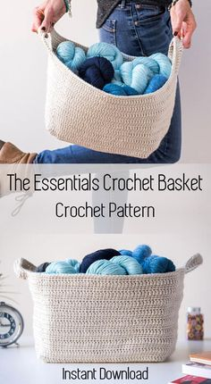 The Essentials Crochet Basket is a wonderfully large container that will hold all your large projects. Instant download crochet patterns. #crochetbasket #basketpattern #affiliate