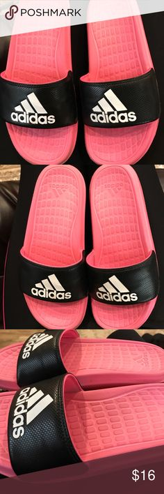 Adidas slides Pink and white and black, very lovely everyday shoes,size 8, used a few times, no fades, no emails, please do comment and share, have a blessed day! John 6:12 adidas Shoes Flats & Loafers