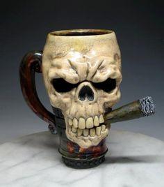 Skull Mug Smoking Cigar - Freakin Sweet Mug by Dan. $180.00, via Etsy.