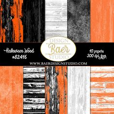 Wood digital paper in black and orange, black and white, textured panels for creating Halloween layouts, Halloween planner stickers, Halloween invitations, and more