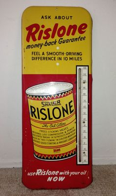 """Rislone Antique Thermometer (Vintage Automotive Oil Additive Advertising Sign, """"Feel a Smoother Driving Difference in 10 Miles"""", """"The Oil Alloy"""")"""