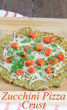 Zucchini Pizza Crust - try this gluten free pizza crust. The crust gets crispy - no mushy pizza here! Packed with veggies - this low carb pizza crust is a perfect dinner recipe.