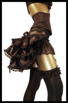 Black Satin Gothic Burlesque Steampunk Bustle by lovechildboudoir