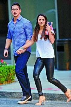 The Bachelorette's Andi Dorfman and Josh Murray Have Major Trust Issues Andi And Josh, Josh Murray, Andi Dorfman, Black Leather Leggings, Perfect Couple, Celebrity Couples, Cool Suits, Autumn Winter Fashion, Fall Outfits