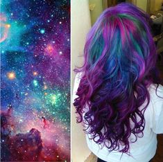 """Galaxy Hair"" Trend is Bringing the Cosmic Beauty of the Universe to Hair - My Modern Met.  Photo source: @theleopardloungemach"