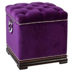Sophisticated small purple velvet eichholtz dean martin cube stool with polished chrome stud detailing and ring handle detail. Purple Love, Purple Lilac, All Things Purple, Shades Of Purple, Deep Purple, Aqua Blue, Purple Stuff, Purple Velvet, Cube Furniture