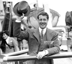 11th July 1938, Actor Don Ameche pictured arriving at Southampton aboard the ,Queen Mary from the USA
