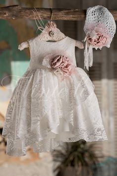 Φόρεμα βάπτισης Vinte Li 2703 μαζί με πλεκτό σκουφάκι, annassecret, Χειροποιητες μπομπονιερες γαμου, Χειροποιητες μπομπονιερες βαπτισης