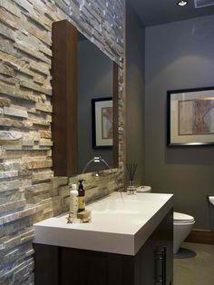 Bathroom- stone wall, grey walls Nice mix of rustic and modern