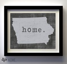 Home. Iowa state print on Etsy, $25.00
