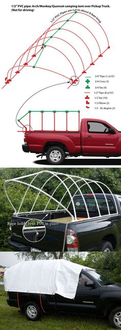 Pipe Truck Tent: Monkey Hut / Quonset Hut DIY camping tent over Pickup Truck.PVC Pipe Truck Tent: Monkey Hut / Quonset Hut DIY camping tent over Pickup Truck. Mini Camper, Truck Camper, Truck Tent Camping, Truck Bed Tent, Camping Diy, Camping And Hiking, Camping Gear, Camping Hacks, Outdoor Camping