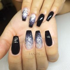 black ombre glitter nails