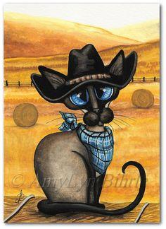 Siamese Western Cowboy Kitty Cat Art Prints & by AmyLynBihrle