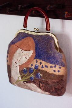 "Felted Bag Handbag Purse Felt Nunofelt Nuno felt Silk Eco handmadered bag Fiber Art boho blue bag a gift for woman""Angel and bluebells"""