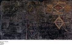 "Alejandro Guijarro's ""Momentum"" photography series depicts chalkboards at quantum mechanics research institutions."