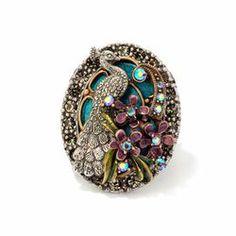"""Sweet Romance Peacock Crystal Floral Ring"" via Wayfair"