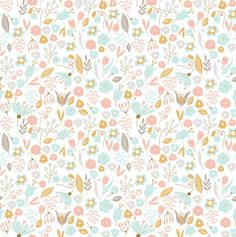 Hand Drawn Floral Pattern Wallpaper, Removable Wallpaper, Floral Decal, Wall Decal, Peel & Stick Wallpaper, Floral Decor RockyMountainDecals