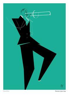 PORTRAIT IN JAZZ Glenn Miller by davidebaronistudio 55 illustrations, 55 portraits, that pay homage to Murakami Haruki's book, Portrait in Jazz.Printed on Fedrigoni paper, 21 x cm. Glenn Miller, Jazz Club, Music Illustration, Illustrations, Art Music, Music Artists, Indie Music, Caricatures, Jazz Poster
