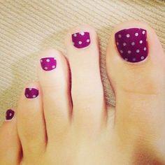 Pretty Toe Nail Art Ideas - For Creative Juice - Polka Dots on Purple Toe Nails. Purple Toe Nails, Pretty Toe Nails, Summer Toe Nails, Cute Toe Nails, Pretty Toes, Gorgeous Nails, Purple Toes, Amazing Nails, Diy Nails