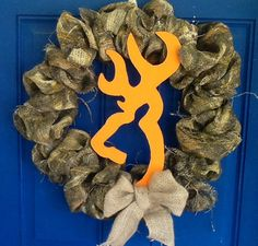 Camo Browning buck wreath  hunting real tree by CamoLoveDoorDecor, $50.00