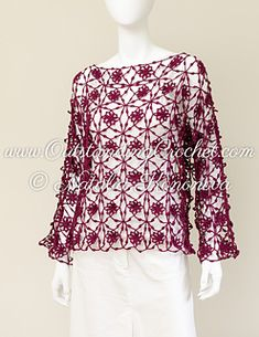 Crochet Seamless Drop Shoulder Open Stitch Pullover Sweater / Top / Cover Up.