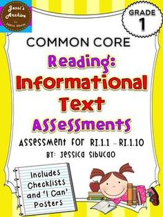 1st Grade Common Core Reading Literature Assessment