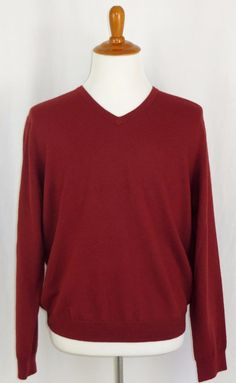 Mens Merino Wool Sweater V-Neck J. Crew Rust XL #JCrew #VNeck