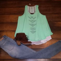 Just in today! Fun and flowy aztec embroidered tank! We love it paired with light denim and fringed booties!