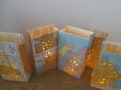 on canvas, make heat punches in favorite places, mount on wall...art made with maps | ... Small Map Luminary Bags,Travel Theme Decor, Made to Order, Map Art