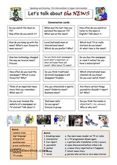 This worksheet contains 18 conversation cards and two vocabulary matching exercises (one with pictures). The cards can be cut out if desired and be used as conversation questions. Can be used with both young learners and adults (pre-intermediate to upper-intermediate). - ESL worksheets