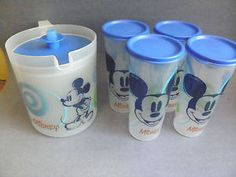 Mickey Mouse 1 quart Tupperware jug & cups with lids