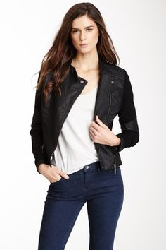 Double Zip Asymmetrical Faux Leather Jacket