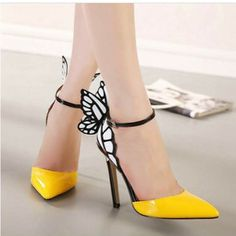 Yellow butterfly shoes.