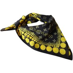 Pre-owned Scarf of by Yayoi Kusama (1.355 RON) ❤ liked on Polyvore featuring accessories, scarves, brown, louis vuitton scarves, cotton scarves, square cotton scarves, brown scarves and brown shawl