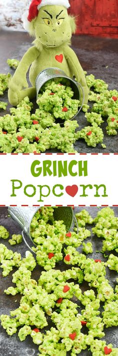 This Grinch Popcorn is so delicious that you might find it hard to share, but you will because you are not a Grinch holiday treats christmas Le Grinch, Grinch Christmas, Christmas Candy, Christmas Themes, Christmas Holidays, Christmas Parties, Grinch Party, Grinch Stuff, Christmas Pops