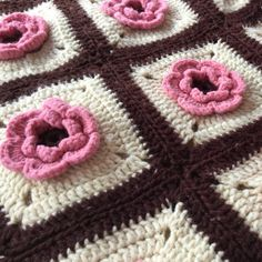 Vintage Crochet Afghan  Granny Square Afghan   by MyVintagePoint