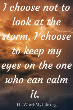 I choose not to look at the storm. I choose to keep my eye on the one who can calm it. Be not fearful the Lord advises all through the Bible. He is the one that walks through the fire and deep waters with us.