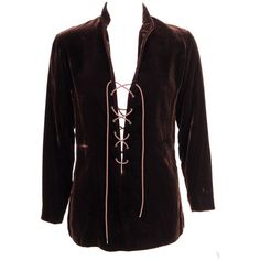 Pre-owned Yves Saint Laurent Velvet Tunic with Lacing ($950) ❤ liked on Polyvore featuring tops, tunics, shirts, clothes - tops, men, blouses, purple long sleeve shirt, long sleeve tunic, lace up front shirt and lace up shirt