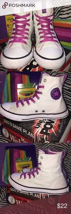 Converse Chuck Taylors Slip It High Tops Super clean, very cute, good condition, the allstar on the bottom heels show some wear, but everything else is in good condition.  No odor!  They are ready to hit the books and go back to school! Converse Shoes Sneakers