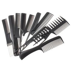 10pcs/Set Professional Hair Brush Comb Salon Barber Anti-static Hair Combs Hairbrush Hairdressing Combs Hair Care Styling Tools #Affiliate