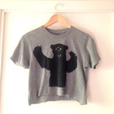Ames bros hand cropped bear shirt Incredibly soft and perfect for summer. I cropped this myself, so it's not perfect, but it adds a great feminine touch to this famous menswear t (: *urban for exposure* Urban Outfitters Tops Crop Tops