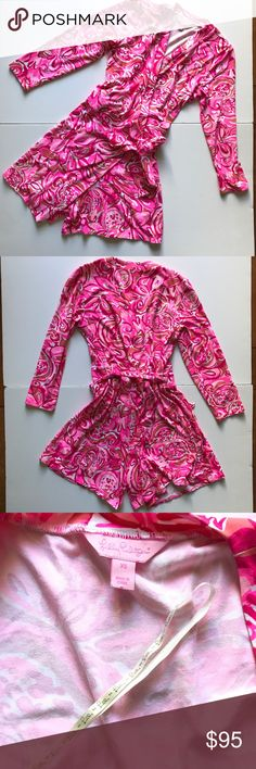 Lilly Pulitzer Karlie wrap Romper. Lilly Pulitzer. Gorgeous wrap romper. 3/4 length sleeves. The print is mango salsa. Great condition. Thanks for shopping my closet Lilly Pulitzer Pants Jumpsuits & Rompers