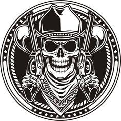 Skull cowboy and guns Skull Logo, Skull Art, Mom Dad Tattoos, Little King, Skull Pictures, Black Background Images, Cowboy Art, Masks Art, Tattoo Stencils