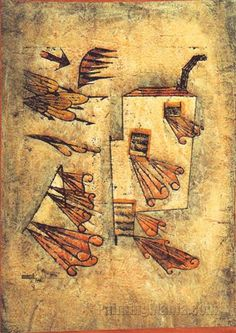 Paul Klee 'Fire Wind'  1923  Oil Transfer drawing,watercolor and oil on oil priming on paper,bordered in watercolor and pen,mounted on cardboard