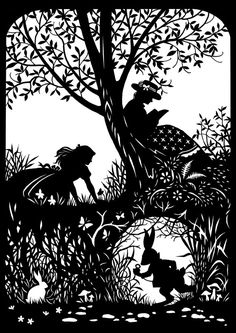 Alice with Rabbit Paper Cutting