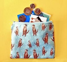 Your place to buy and sell all things handmade Cute Coin Purse, You Loose, Pouch, Wallet, Coin Purses, Change Purse, Blue Polka Dots, Uk Shop, Otters