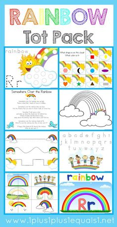 Rainbow Tot Pack ~ free raibow theme printables for Tot School, Preschool or Kindergarten