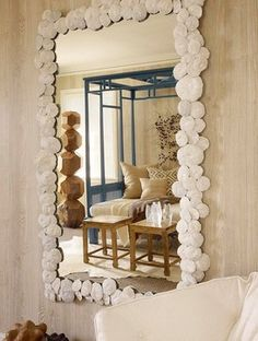 tropical - living room - I'm making this mirror at home with all the shells my kids collected from the all beach trips.-ls
